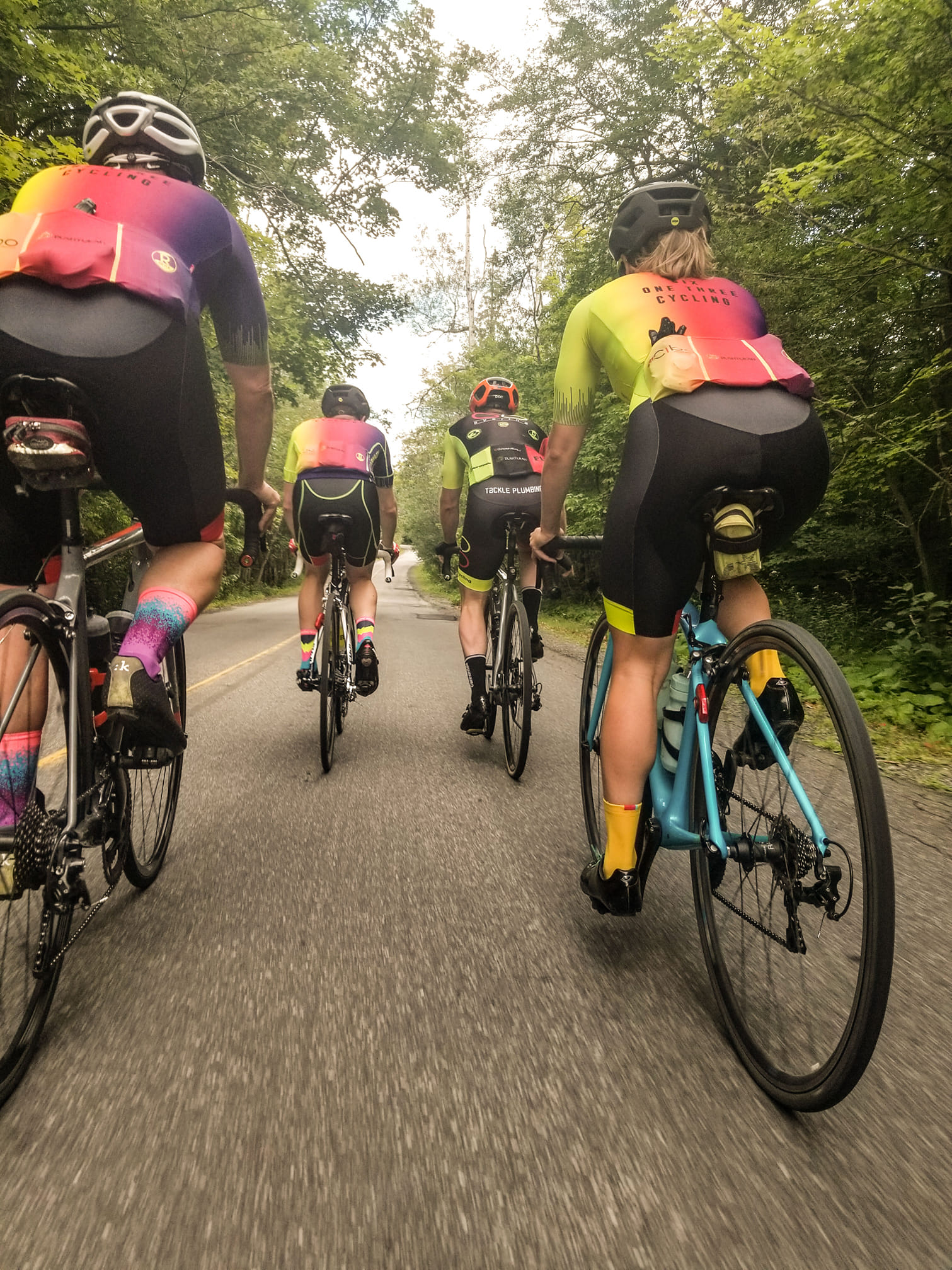 riders enjoying their bike ride because of their great bike fit